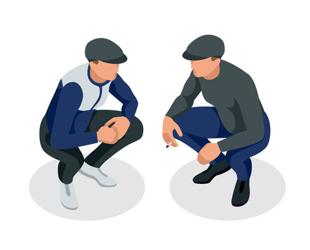 Isometric man is squatting and smoking. Vector isolated on a white background