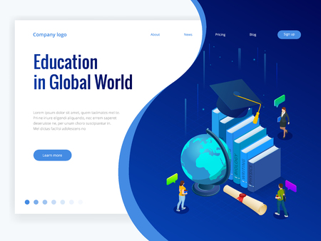 Isometric Education in Global world. Books step education. Online education concept. Online training courses, specialization, university studies vector illustration Vector Illustration