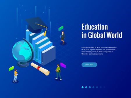 Isometric Education in Global world. Books step education. Online education concept. Online training courses, specialization, university studies vector illustration
