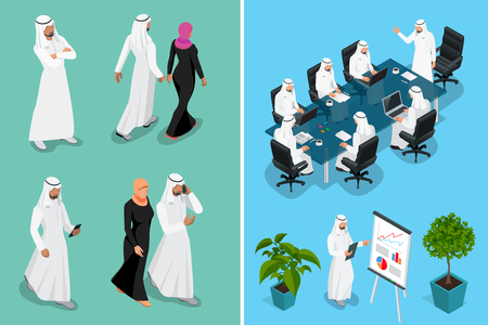Isometric businessman Saudi Arab man and woman character design with different poses, car on blue background isolated vector illustration. Arabic Business man on Traditional National Muslim Clothes. Vectores