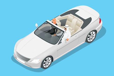 Isometric Arab couple ride in cabriolet car. Traveling by cabriolet car vector illustration Standard-Bild - 104364774