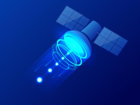 Izometryczny satelita GPS. Bezprzewodowa technologia satelitarna. Światowa sieć globalna. Sprzęt do nadawania telewizji satelitarnej i radia. Ilustracja wektorowa