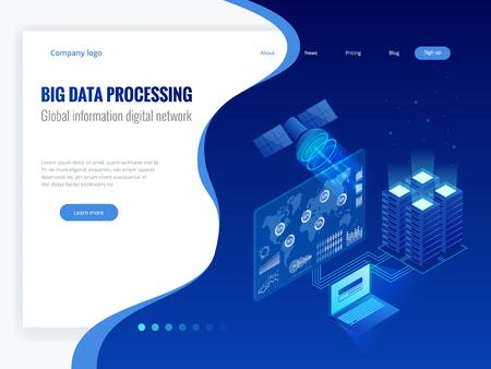 Isometrische Big-Data-Verarbeitung, globales digitales Informationsnetzwerkkonzept, Rechenzentrum, Datenbank, digitale Informationstechnologie. Website-Banner-Vorlagen. Vektorgrafik