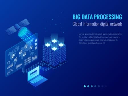 Procesamiento de datos grandes isométricos, concepto de red digital de información global, centro de datos, base de datos, tecnología de información digital. Plantillas de banner de sitio web. Ilustración de vector