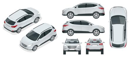 Modello di vettore di auto su priorità bassa bianca. Crossover compatto, CUV, station wagon a 5 porte. Vettore del modello isolato. Visualizza isometrico, anteriore, posteriore, laterale, superiore.