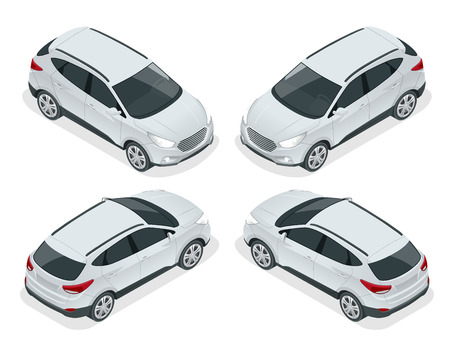Isometric car vector template on white background. Compact crossover, CUV, 5-door station wagon car. Template vector isolated.