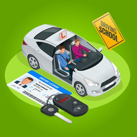 École de conduite concept design ou apprendre à conduire. Illustration isométrique plate