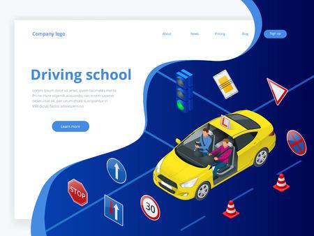 Concetto di design scuola guida o imparare a guidare. Illustrazione isometrica piatta Vettoriali