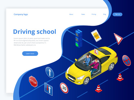 Design concept driving school or learning to drive. Flat isometric illustration Illustration