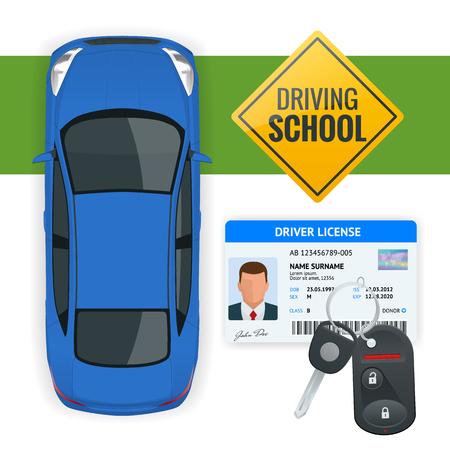 Conception de l'école de conduite ou apprendre à conduire. Illustration isométrique plate