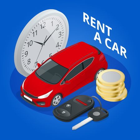 Isometric renting a new or used car. Car rental booking reservation banner. Vector illustration background