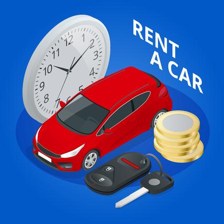 Alquiler isométrico de un coche nuevo o usado. Banner de reserva de reserva de alquiler de coche. Fondo de ilustración vectorial