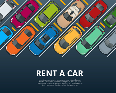 Renting a new or used car. Car rental booking reservation banner. Vector illustration background Illustration