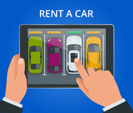 Renting a new or used car. car rental booking reservation on tablet. Used cars app. Vector illustration background Illustration
