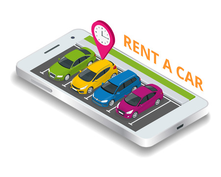 Renting a new or used car. car rental booking reservation on mobile smartphone. Used cars app. Vector illustration background. Illustration