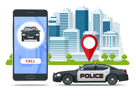 Call police app on smartphone screen. Emergency call use by smartphone. Sos mobile concept for web banner, web site, infographics Vector Illustration