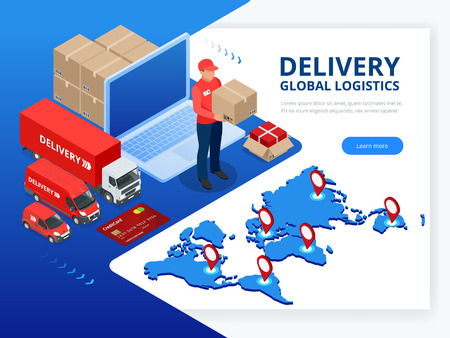 Isometric Checking delivery and ligistics service app on laptop. Delivery truck with cardboard box and delivery man. Infographics. Vector web banner illustration Illustration