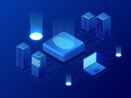 Technologie de blockchain de biométrie isométrique et système d'identification par balayage d'empreintes digitales. Autorisation biométrique et concept de sécurité commerciale. Vecteurs