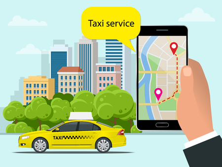 Yellow taxi cab and mobile application in phone with city background. Mobile app for booking service. Flat vector illustration for business, infographic, banner, presentations.