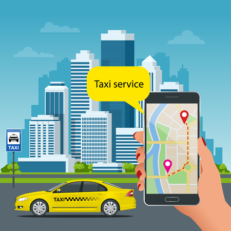 Online Taxi-service concept. Man orders a taxi from his cell phone. Taxi service application on screen. Vector business card template.