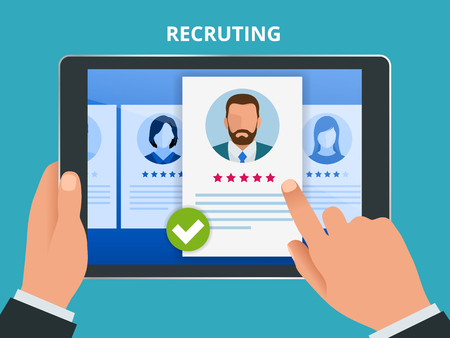 Hiring and recruitment concept for web page, banner, presentation. Job interview, recruitment agency vector illustration.
