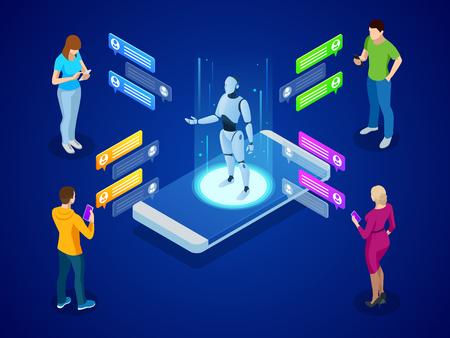 Intelligence artificielle isométrique. Concept d'IA et d'IOT d'entreprise. Hommes et femmes discutant avec l'application chatbot Vecteurs