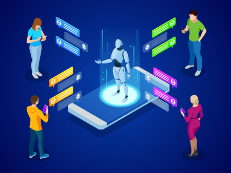 Isometric artificial intelligence. AI and business IOT concept. Mans and women chatting with chatbot application