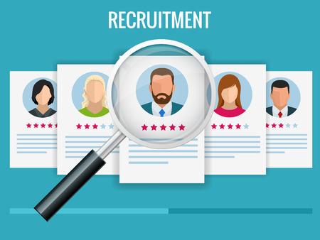 Concepto de contratación y contratación para página web, banner, presentación. Entrevista de trabajo, Ilustración de vector de agencia de contratación.