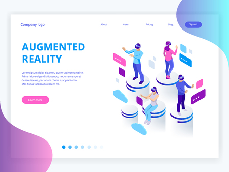 Isometric virtual reality, augmented reality concept. Men and woman wearing virtual reality glasses. Work, learning and entertaining. Vector illustration
