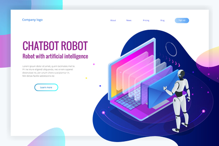 Isometric robots man with artificial intelligence working with a virtual interface in chatbot emails. Message online chat social text vector Illustration. Illustration