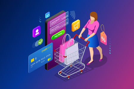 Isometric Smart smartphone online shopping concept. Smartphone turned into internet shop. Mobile marketing and e-commerce. Vector illustration.