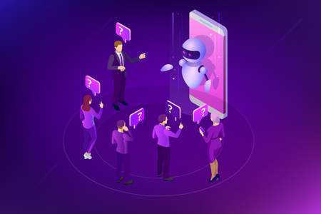 Isometric artificial intelligence. Chat bot and future marketing. AI and business IOT concept. Mans and women chatting with chatbot application. Dialog help service. Vector illustration. Ilustração