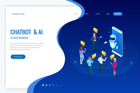 Isometric artificial intelligence. Chat bot and future marketing. AI and business IOT concept. Mans and women chatting with chatbot application. Dialog help service. Vector illustration. Çizim