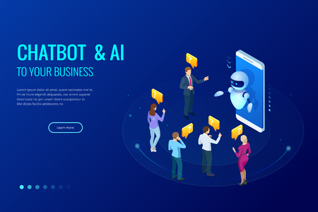 Isometric artificial intelligence. Chat bot and future marketing. AI and business IOT concept. Mans and women chatting with chatbot application. Dialog help service. Vector illustration. Иллюстрация