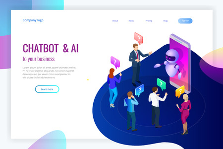 Isometric artificial intelligence. Chat bot and future marketing. AI and business IOT concept. Mans and women chatting with chatbot application. Dialog help service. Vector illustration. 矢量图像