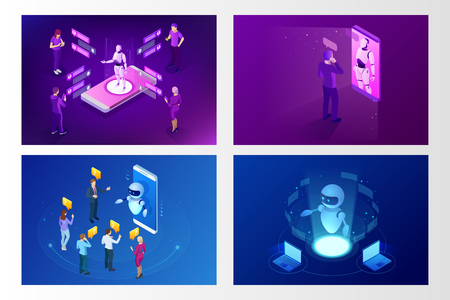 Isometric artificial intelligence. Chat bot and future marketing. AI and business IOT concept. Mans and women chatting with chatbot application. Dialog help service. Vector illustration. 일러스트