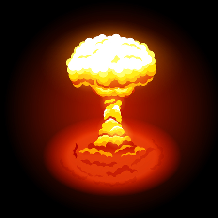 Vector illustration of bright nuclear explosion. Symbol of environmental protection and the dangers of nuclear energy. Nuclear explosions produce radiation and radioactive debris Illustration