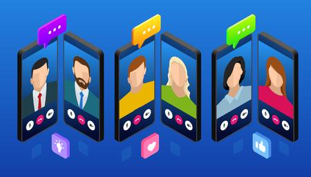 Chat de mensajería móvil isométrica, conversación en línea con mensaje de texto. Ilustración vectorial