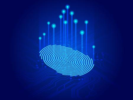 Isométrica digital moderna identificar y medir la huella digital brillante en la superficie digital. Futuro de la seguridad, control de contraseñas mediante huellas dactilares en tecnología inmersiva del futuro y cibernético. Ilustración de vector