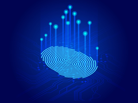 Isometric digital modern identify and measuring the bright fingerprint on the digital surface. Future of security, password control through fingerprints in immersive technology future and cybernetic. Vector Illustration
