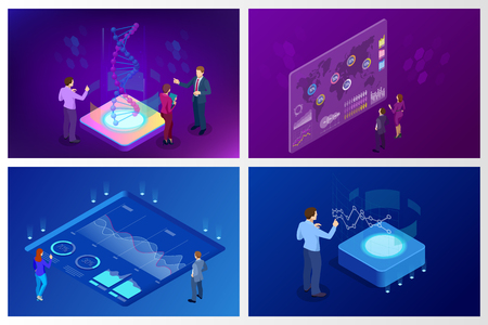 Isometric Big Data Network visualization, advanced analytics, interacting Data analysis, research, audit, demographics, Artificial Intelligence, planning, statistics, digital DNA structure, management Stock Vector - 105837493