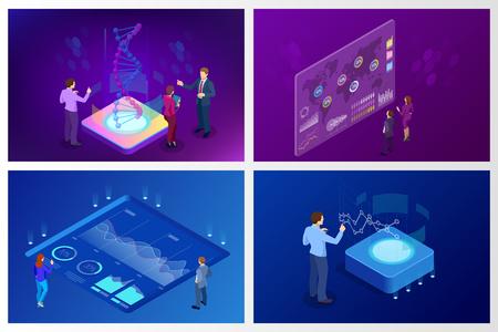 Isometric Big Data Network visualization, advanced analytics, interacting Data analysis, research, audit, demographics, Artificial Intelligence, planning, statistics, digital DNA structure, management Illustration