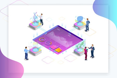 Isometric Big Data Network visualization, advanced analytics, interacting Data analysis, research, audit, demographics, Artificial Intelligence, planning, statistics, digital DNA structure, management Иллюстрация