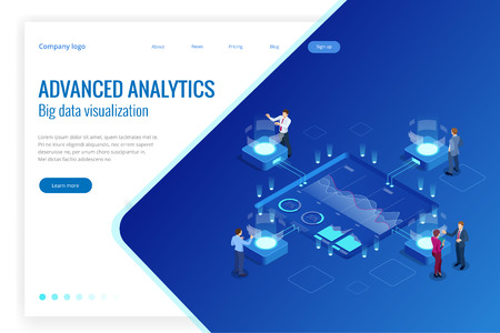 Isometric Big Data Network visualization, advanced analytics, interacting Data analysis, research, audit, demographics, Artificial Intelligence, planning, statistics, digital DNA structure, management Vectores