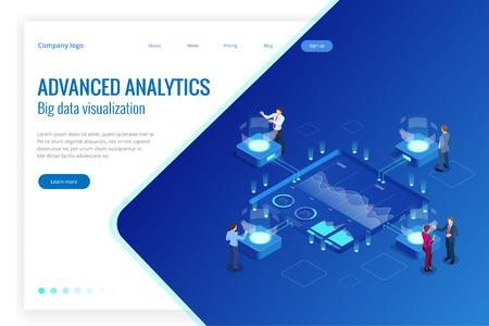 Isometric Big Data Network visualization, advanced analytics, interacting Data analysis, research, audit, demographics, Artificial Intelligence, planning, statistics, digital DNA structure, management Vettoriali