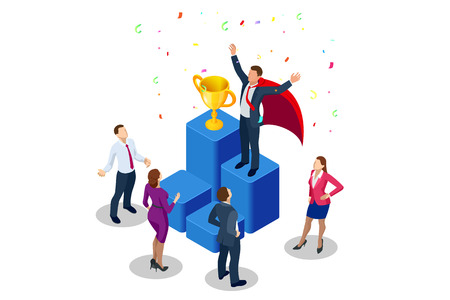 IsomeIsometric winner business and achievement concept. Business success. Big trophy for businessmen. tric winner business and achievement concept. Business success. Big trophy for businessmen Standard-Bild - 114774669