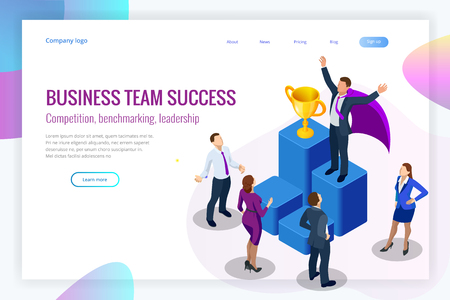 Isometric winner business and achievement concept. Business success. Big trophy for businessmen. Vectores