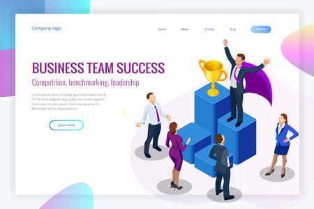 Concepto de logro y negocio ganador isométrico. Éxito en el negocio. Gran trofeo para empresarios.