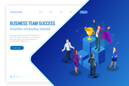 IsomeIsometric winner business and achievement concept. Business success. Big trophy for businessmen. tric winner business and achievement concept. Business success. Big trophy for businessmen