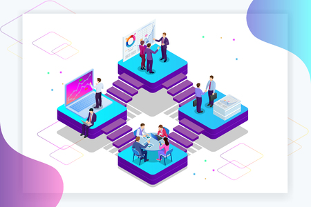Isometric Analysis data and Investment. Project management, business communication, workflow and consulting. Website and mobile website development, SEO, mobile apps, business solutions Illustration